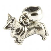 Welsh Corgi Dog Sterling Silver 3D Dangle Charm / Carrier Bead